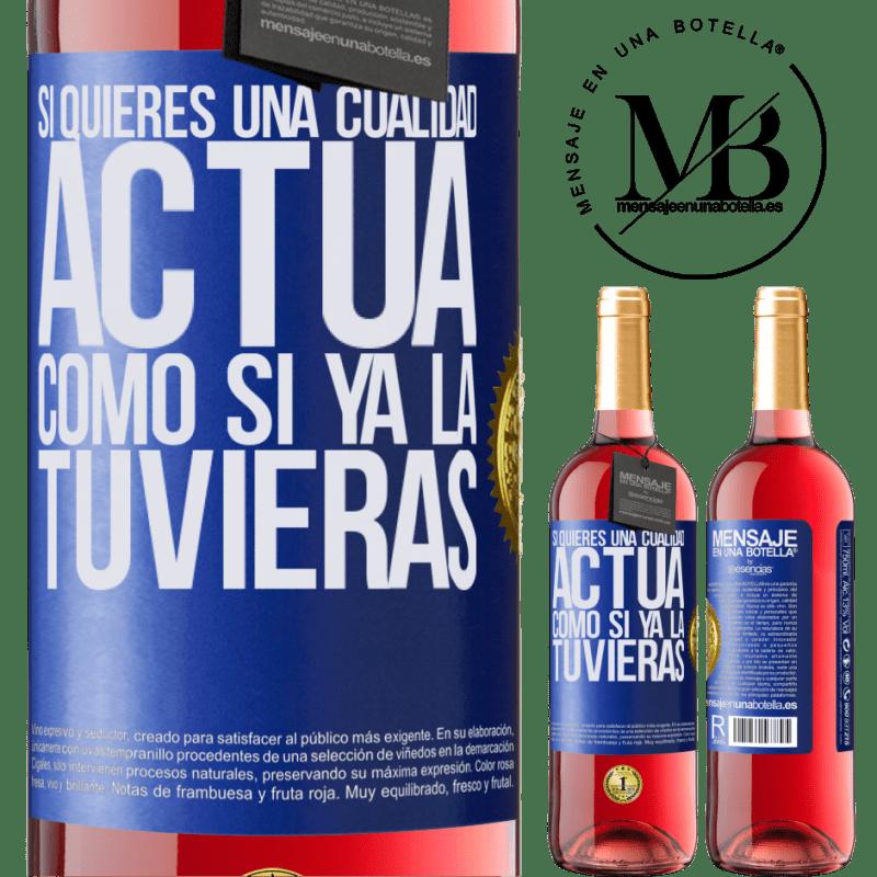 24,95 € Envoi gratuit   Vin rosé Édition ROSÉ Si vous voulez une qualité, faites comme si vous l'aviez déjà Étiquette Bleue. Étiquette personnalisable Vin jeune Récolte 2020 Tempranillo