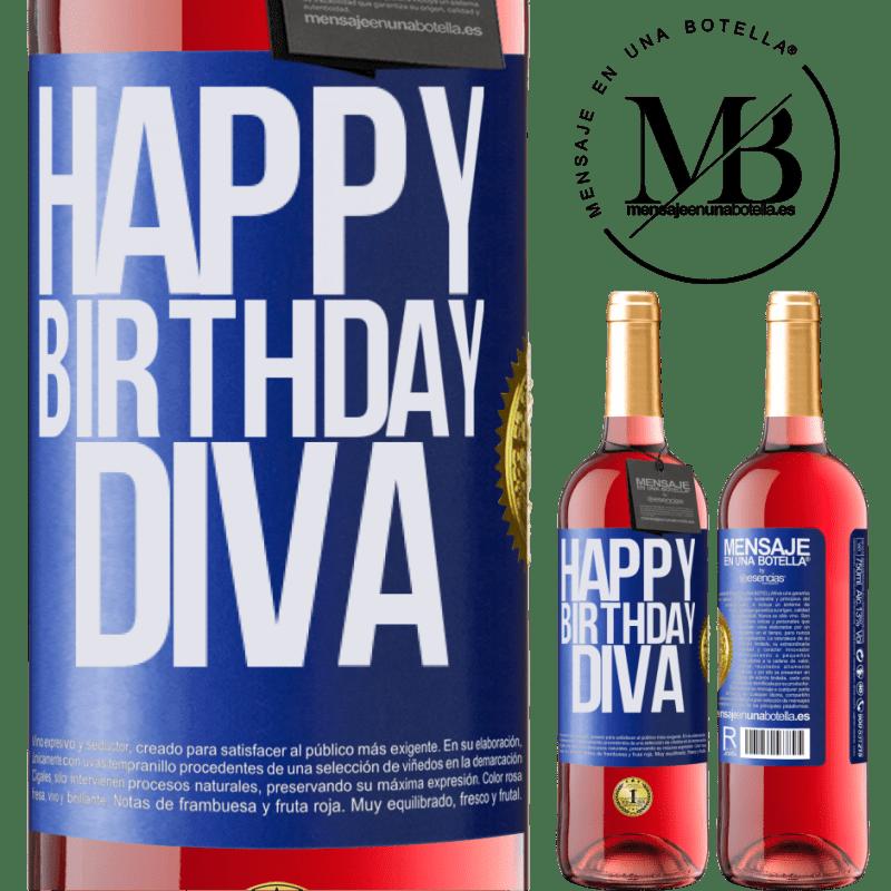 24,95 € Envoi gratuit | Vin rosé Édition ROSÉ Joyeux anniversaire Diva Étiquette Bleue. Étiquette personnalisable Vin jeune Récolte 2020 Tempranillo