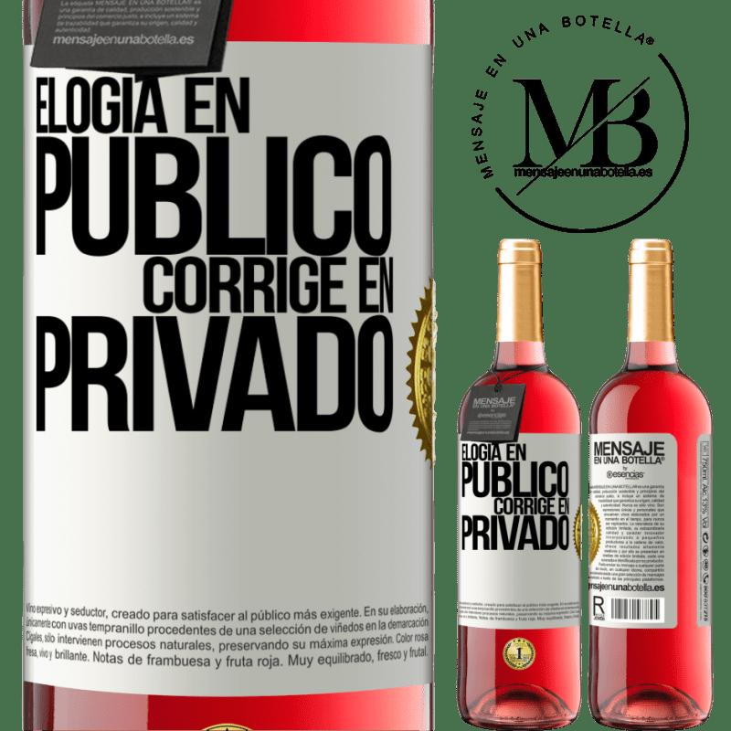 24,95 € Envoi gratuit | Vin rosé Édition ROSÉ Louange en public, correcte en privé Étiquette Blanche. Étiquette personnalisable Vin jeune Récolte 2020 Tempranillo