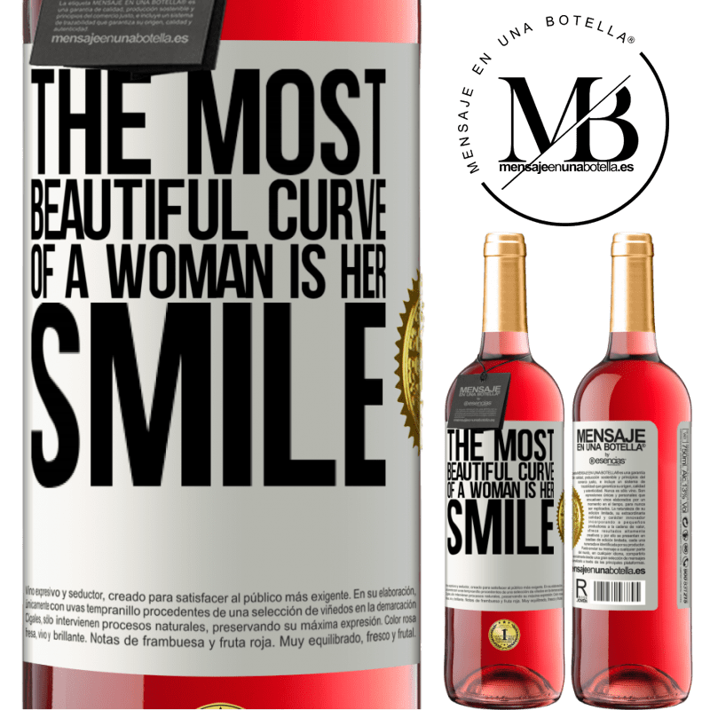24,95 € Free Shipping   Rosé Wine ROSÉ Edition The most beautiful curve of a woman is her smile White Label. Customizable label Young wine Harvest 2020 Tempranillo