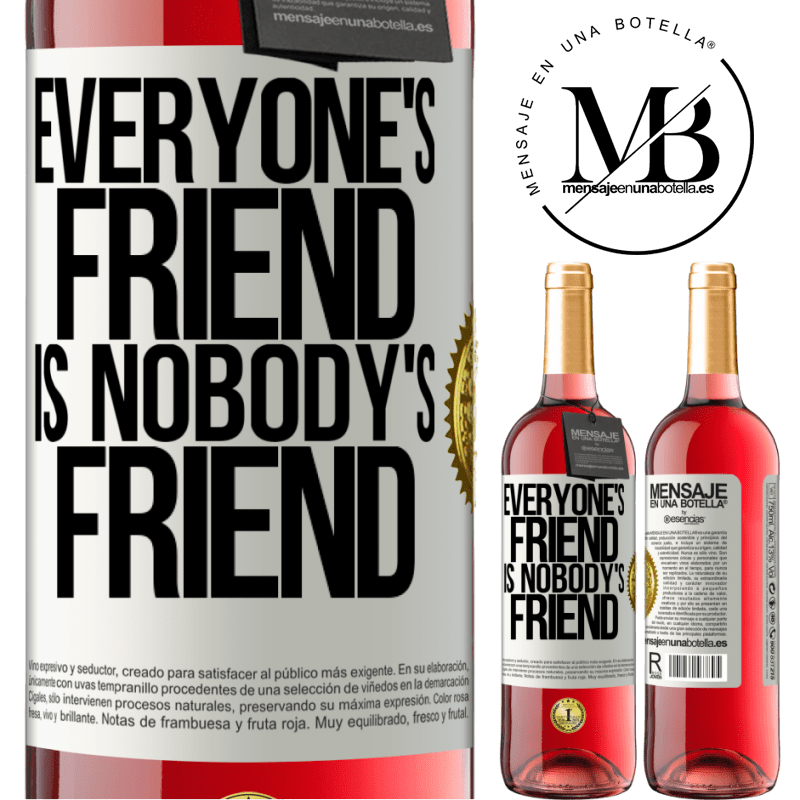 24,95 € Free Shipping | Rosé Wine ROSÉ Edition Everyone's friend is nobody's friend White Label. Customizable label Young wine Harvest 2020 Tempranillo