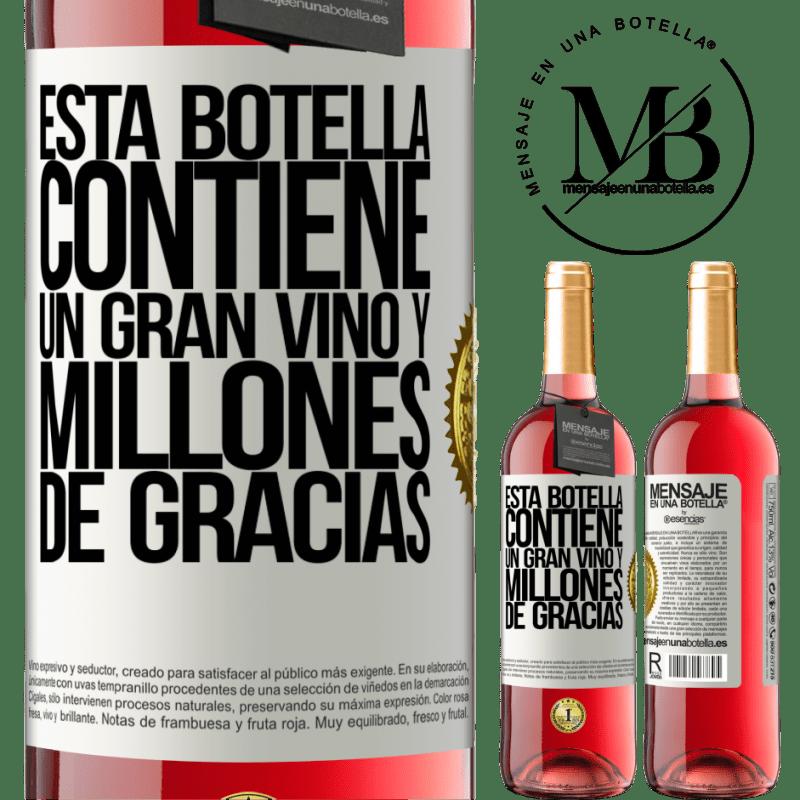 24,95 € Envoi gratuit | Vin rosé Édition ROSÉ Cette bouteille contient un grand vin et des millions de MERCI! Étiquette Blanche. Étiquette personnalisable Vin jeune Récolte 2020 Tempranillo