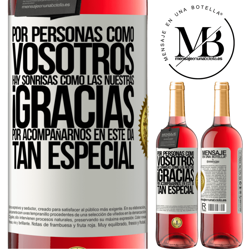 24,95 € Envoi gratuit   Vin rosé Édition ROSÉ Merci d'être avec nous en cette journée spéciale Étiquette Blanche. Étiquette personnalisable Vin jeune Récolte 2020 Tempranillo