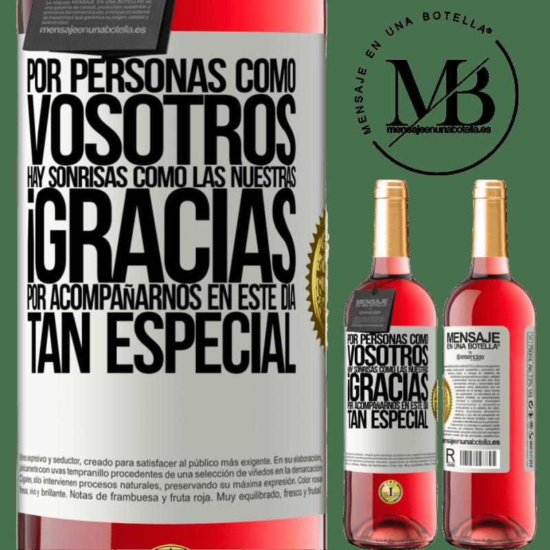 24,95 € Envoi gratuit | Vin rosé Édition ROSÉ Pour des gens comme vous, il y a des sourires comme le nôtre. Merci de vous joindre à nous en cette journée spéciale Étiquette Blanche. Étiquette personnalisable Vin jeune Récolte 2020 Tempranillo