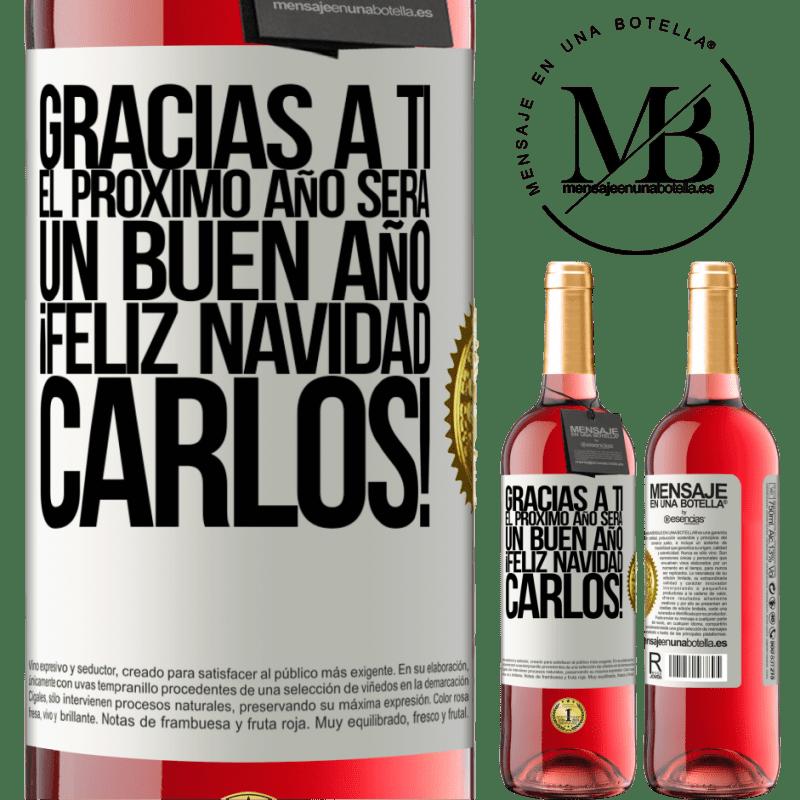 24,95 € Envoi gratuit   Vin rosé Édition ROSÉ Merci à vous l'année prochaine sera une bonne année. Joyeux Noël, Carlos! Étiquette Blanche. Étiquette personnalisable Vin jeune Récolte 2020 Tempranillo
