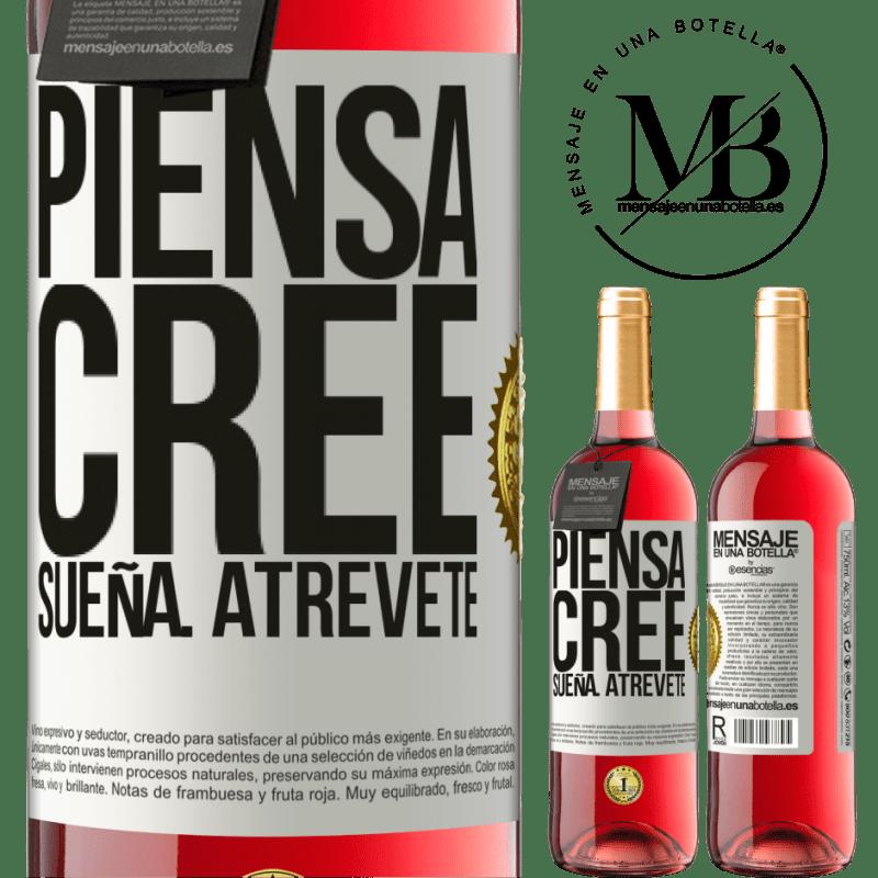 24,95 € Envoi gratuit | Vin rosé Édition ROSÉ Pensez Créer Rêve. Osez Étiquette Blanche. Étiquette personnalisable Vin jeune Récolte 2020 Tempranillo