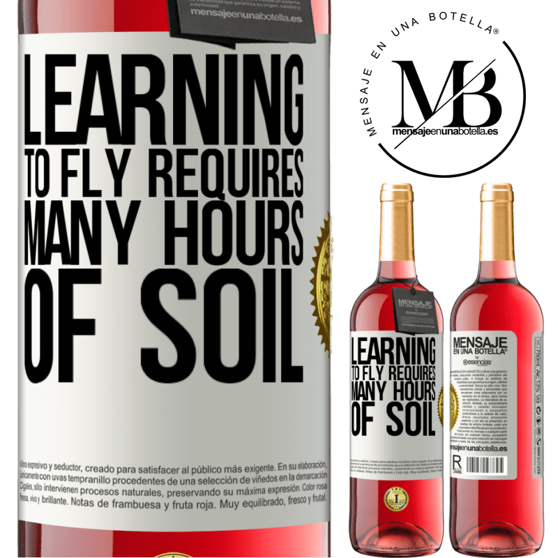 24,95 € Free Shipping | Rosé Wine ROSÉ Edition Learning to fly requires many hours of soil White Label. Customizable label Young wine Harvest 2020 Tempranillo