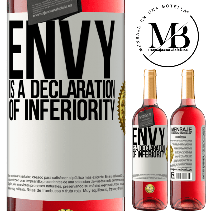 24,95 € Free Shipping   Rosé Wine ROSÉ Edition Envy is a declaration of inferiority White Label. Customizable label Young wine Harvest 2020 Tempranillo