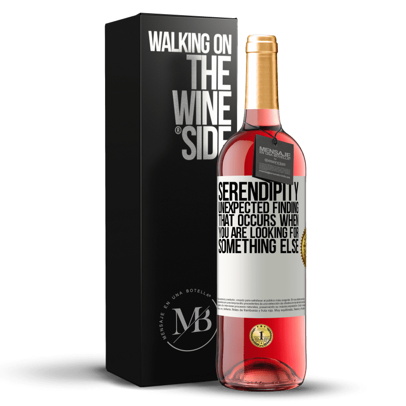 24,95 € Free Shipping | Rosé Wine ROSÉ Edition Serendipity Unexpected finding that occurs when you are looking for something else White Label. Customizable label Young wine Harvest 2020 Tempranillo