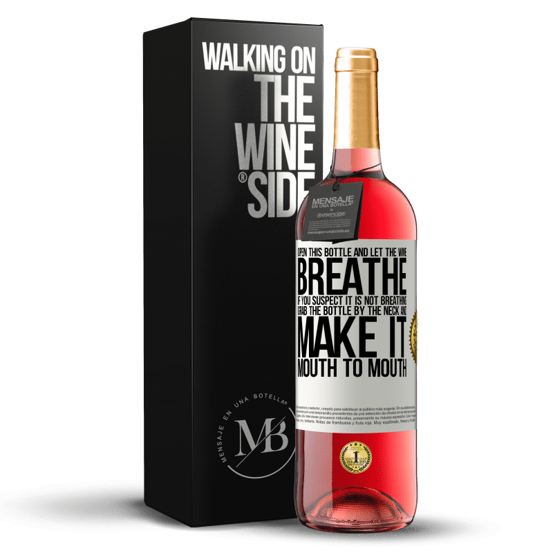 24,95 € Free Shipping   Rosé Wine ROSÉ Edition Open this bottle and let the wine breathe. If you suspect you are not breathing, grab the bottle by the neck and make it White Label. Customizable label Young wine Harvest 2020 Tempranillo