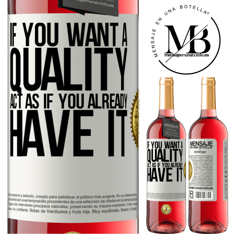 24,95 € Free Shipping | Rosé Wine ROSÉ Edition If you want a quality, act as if you already had it White Label. Customizable label Young wine Harvest 2020 Tempranillo