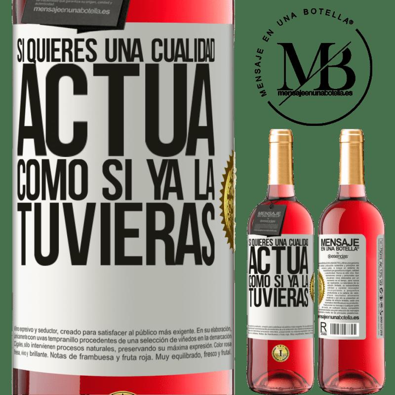 24,95 € Envoi gratuit   Vin rosé Édition ROSÉ Si vous voulez une qualité, faites comme si vous l'aviez déjà Étiquette Blanche. Étiquette personnalisable Vin jeune Récolte 2020 Tempranillo