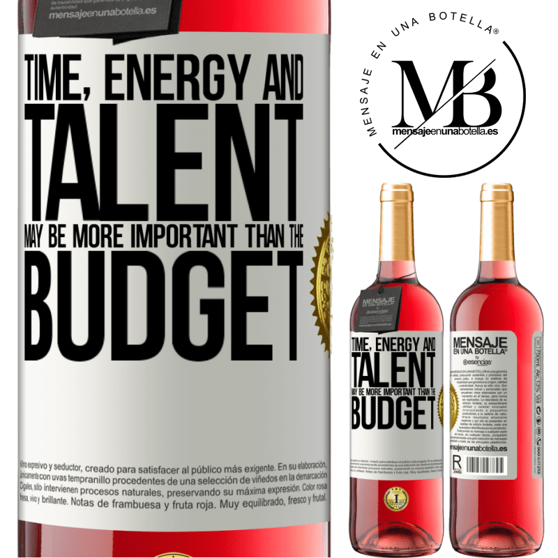 24,95 € Free Shipping | Rosé Wine ROSÉ Edition Time, energy and talent may be more important than the budget White Label. Customizable label Young wine Harvest 2020 Tempranillo