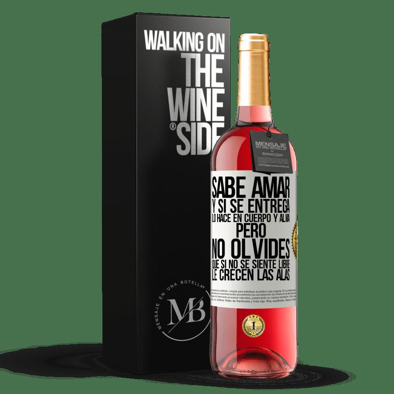24,95 € Envoi gratuit | Vin rosé Édition ROSÉ Il sait aimer, et s'il se donne, il le fait corps et âme. Mais n'oubliez pas, si vous ne vous sentez pas libre, vos ailes Étiquette Blanche. Étiquette personnalisable Vin jeune Récolte 2020 Tempranillo