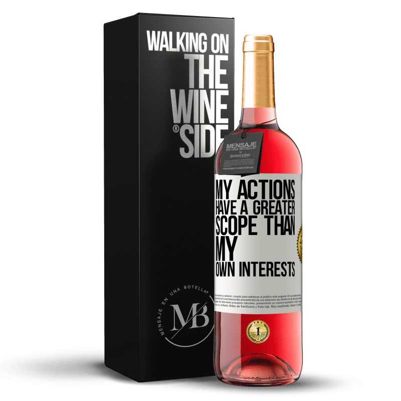 24,95 € Free Shipping | Rosé Wine ROSÉ Edition My actions have a greater scope than my own interests White Label. Customizable label Young wine Harvest 2020 Tempranillo