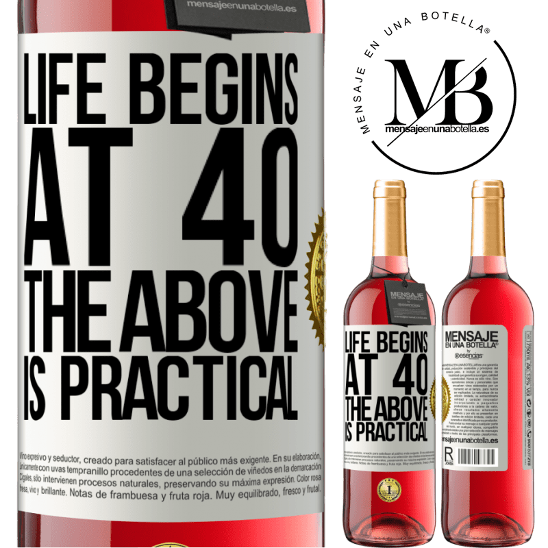 24,95 € Free Shipping | Rosé Wine ROSÉ Edition Life begins at 40. The above is practical White Label. Customizable label Young wine Harvest 2020 Tempranillo