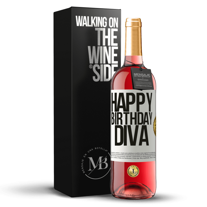 24,95 € Envoi gratuit | Vin rosé Édition ROSÉ Joyeux anniversaire Diva Étiquette Blanche. Étiquette personnalisable Vin jeune Récolte 2020 Tempranillo