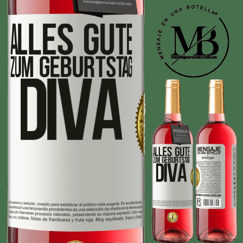 24,95 € Kostenloser Versand | Roséwein ROSÉ Ausgabe Alles Gute zum Geburtstag Diva Weißes Etikett. Anpassbares Etikett Junger Wein Ernte 2020 Tempranillo