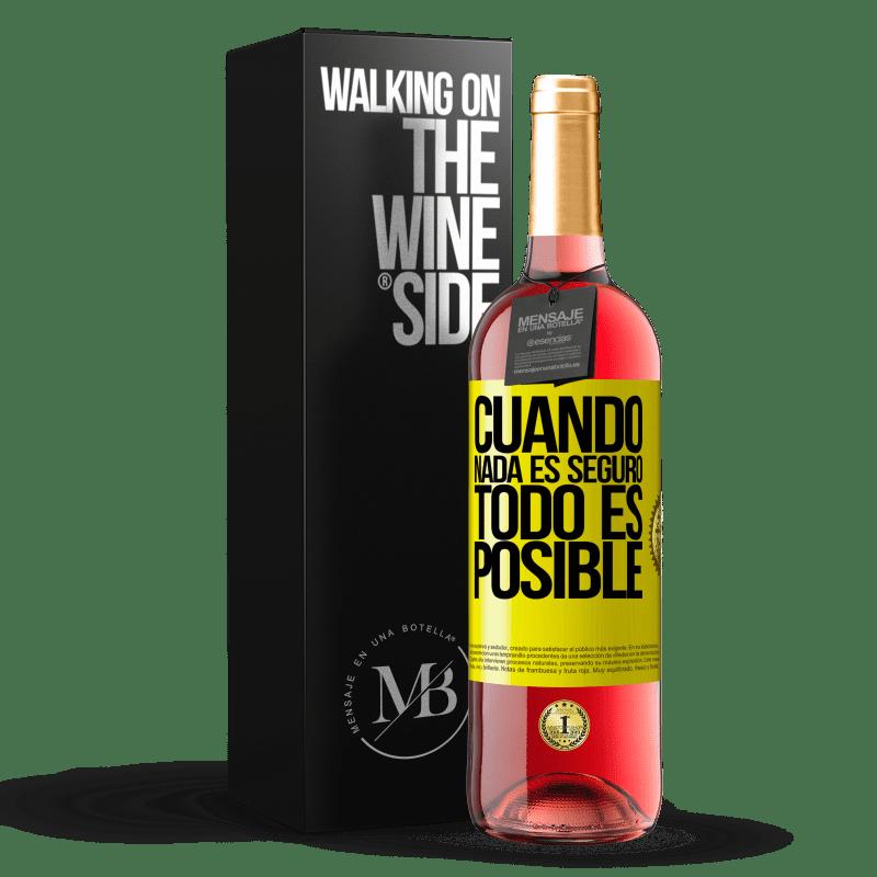 24,95 € Envoi gratuit   Vin rosé Édition ROSÉ Quand rien n'est sûr, tout est possible Étiquette Jaune. Étiquette personnalisable Vin jeune Récolte 2020 Tempranillo