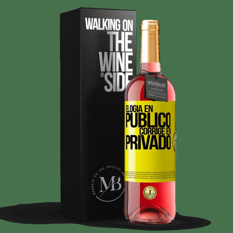 24,95 € Envoi gratuit | Vin rosé Édition ROSÉ Louange en public, correcte en privé Étiquette Jaune. Étiquette personnalisable Vin jeune Récolte 2020 Tempranillo