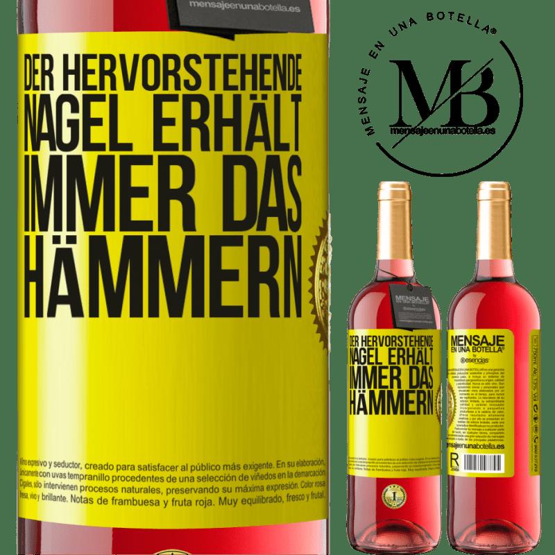 24,95 € Kostenloser Versand | Roséwein ROSÉ Ausgabe Der hervorstehende Nagel erhält immer das Hämmern Gelbes Etikett. Anpassbares Etikett Junger Wein Ernte 2020 Tempranillo