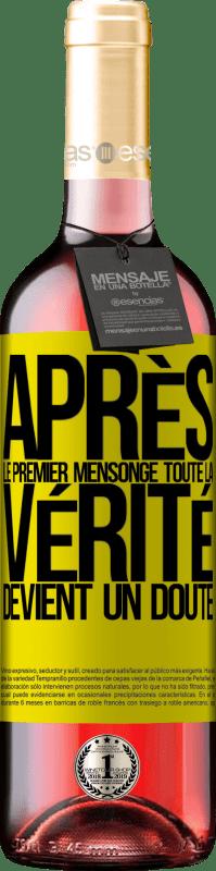 24,95 € Envoi gratuit | Vin rosé Édition ROSÉ Après le premier mensonge, toute la vérité devient un doute Étiquette Jaune. Étiquette personnalisable Vin jeune Récolte 2020 Tempranillo