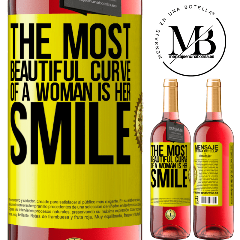 24,95 € Free Shipping   Rosé Wine ROSÉ Edition The most beautiful curve of a woman is her smile Yellow Label. Customizable label Young wine Harvest 2020 Tempranillo