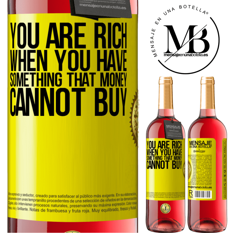 24,95 € Free Shipping | Rosé Wine ROSÉ Edition You are rich when you have something that money cannot buy Yellow Label. Customizable label Young wine Harvest 2020 Tempranillo