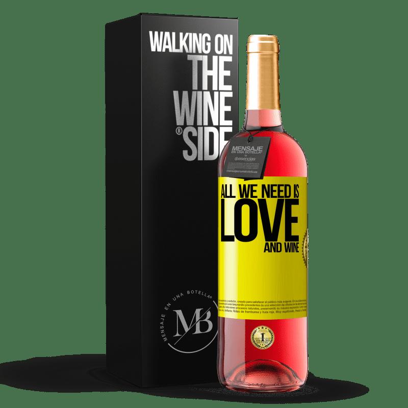 24,95 € Envoi gratuit   Vin rosé Édition ROSÉ All we need is love and wine Étiquette Jaune. Étiquette personnalisable Vin jeune Récolte 2020 Tempranillo