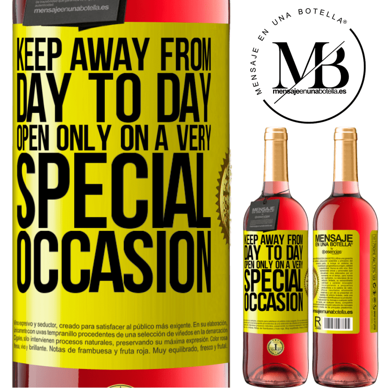 24,95 € Free Shipping   Rosé Wine ROSÉ Edition Keep away from day to day. Open only on a very special occasion Yellow Label. Customizable label Young wine Harvest 2020 Tempranillo