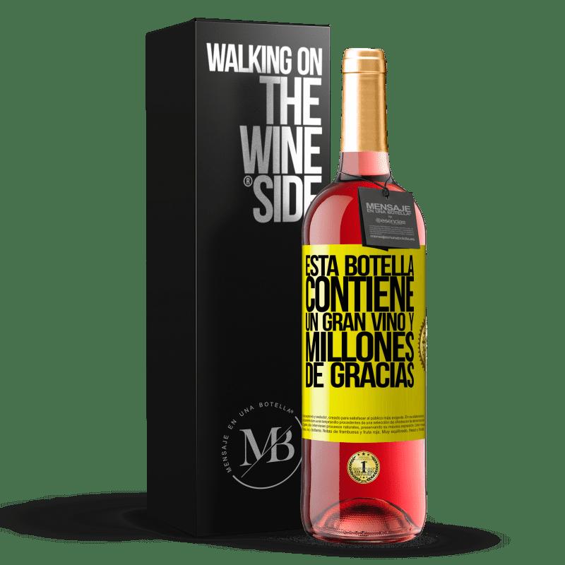24,95 € Envoi gratuit | Vin rosé Édition ROSÉ Cette bouteille contient un grand vin et des millions de MERCI! Étiquette Jaune. Étiquette personnalisable Vin jeune Récolte 2020 Tempranillo