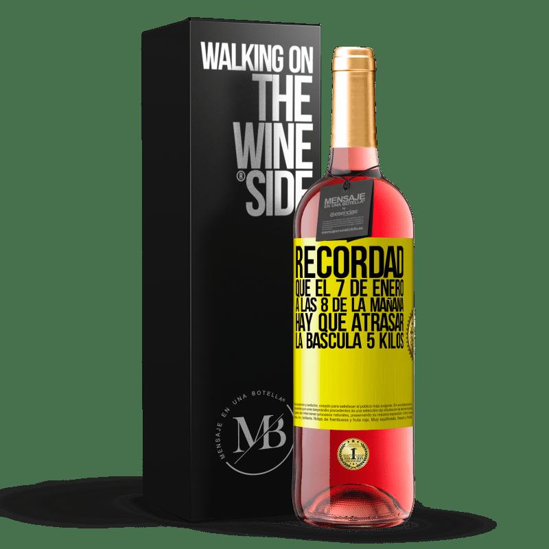 24,95 € Envoi gratuit | Vin rosé Édition ROSÉ Rappelez-vous que le 7 janvier à 8 heures du matin, vous devez retarder l'échelle de 5 kilos Étiquette Jaune. Étiquette personnalisable Vin jeune Récolte 2020 Tempranillo