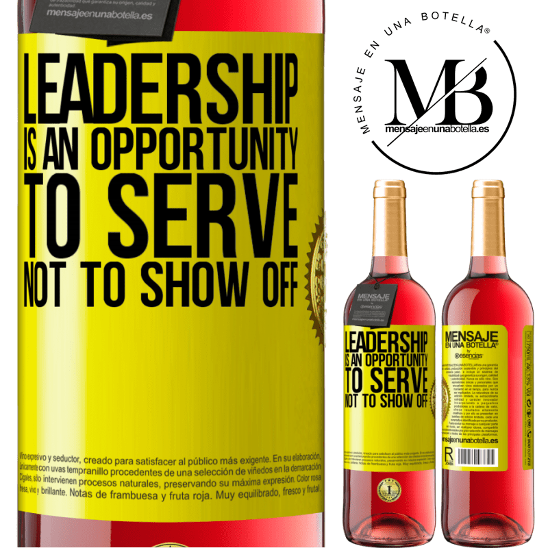 24,95 € Free Shipping   Rosé Wine ROSÉ Edition Leadership is an opportunity to serve, not to show off Yellow Label. Customizable label Young wine Harvest 2020 Tempranillo
