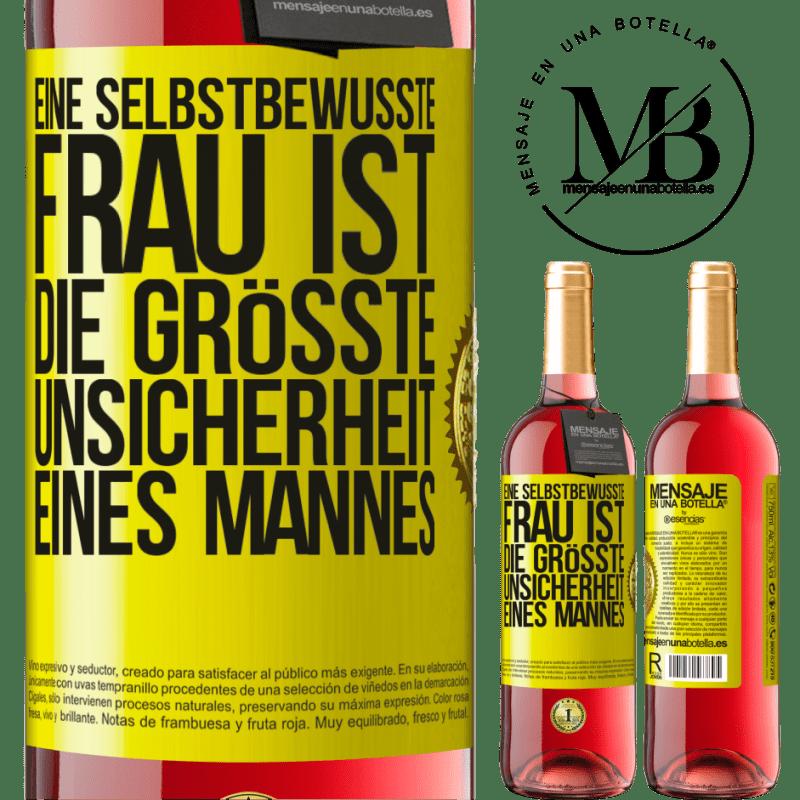 24,95 € Kostenloser Versand | Roséwein ROSÉ Ausgabe Eine selbstbewusste Frau ist die größte Unsicherheit eines Mannes Gelbes Etikett. Anpassbares Etikett Junger Wein Ernte 2020 Tempranillo