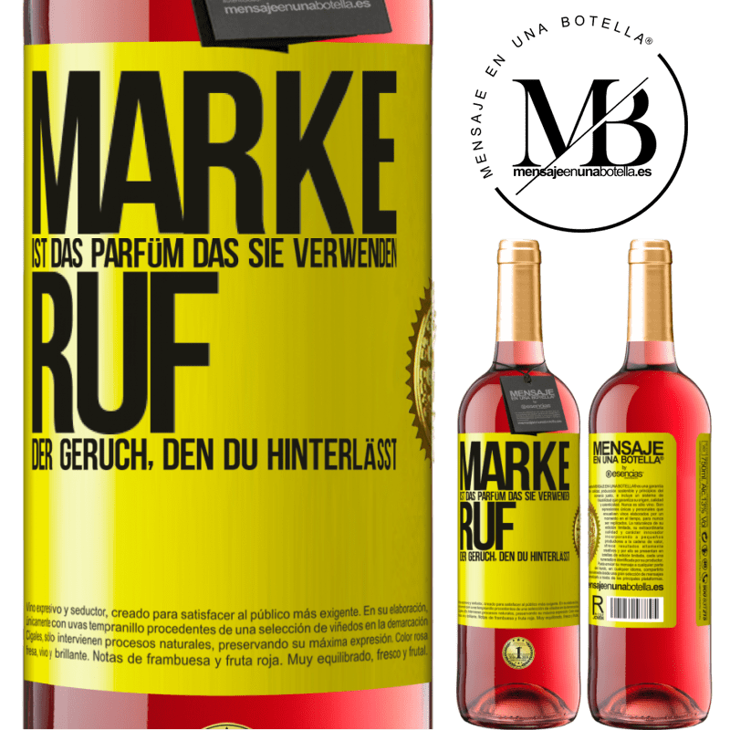 24,95 € Kostenloser Versand | Roséwein ROSÉ Ausgabe Marke ist das Parfüm, das Sie verwenden. Ruf, der Geruch, den du hinterlässt Gelbes Etikett. Anpassbares Etikett Junger Wein Ernte 2020 Tempranillo