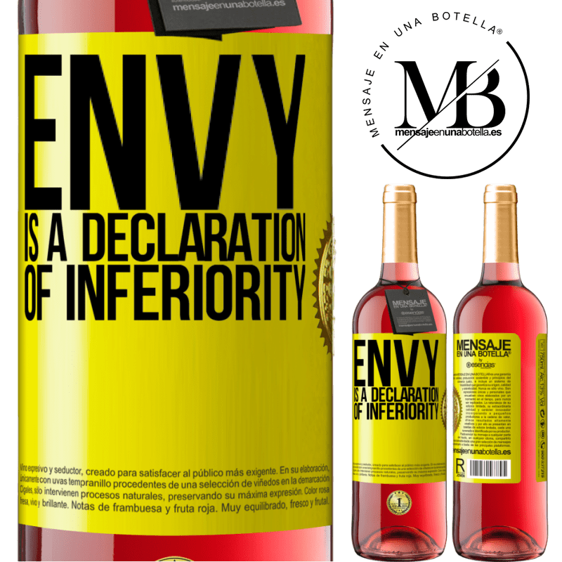 24,95 € Free Shipping   Rosé Wine ROSÉ Edition Envy is a declaration of inferiority Yellow Label. Customizable label Young wine Harvest 2020 Tempranillo