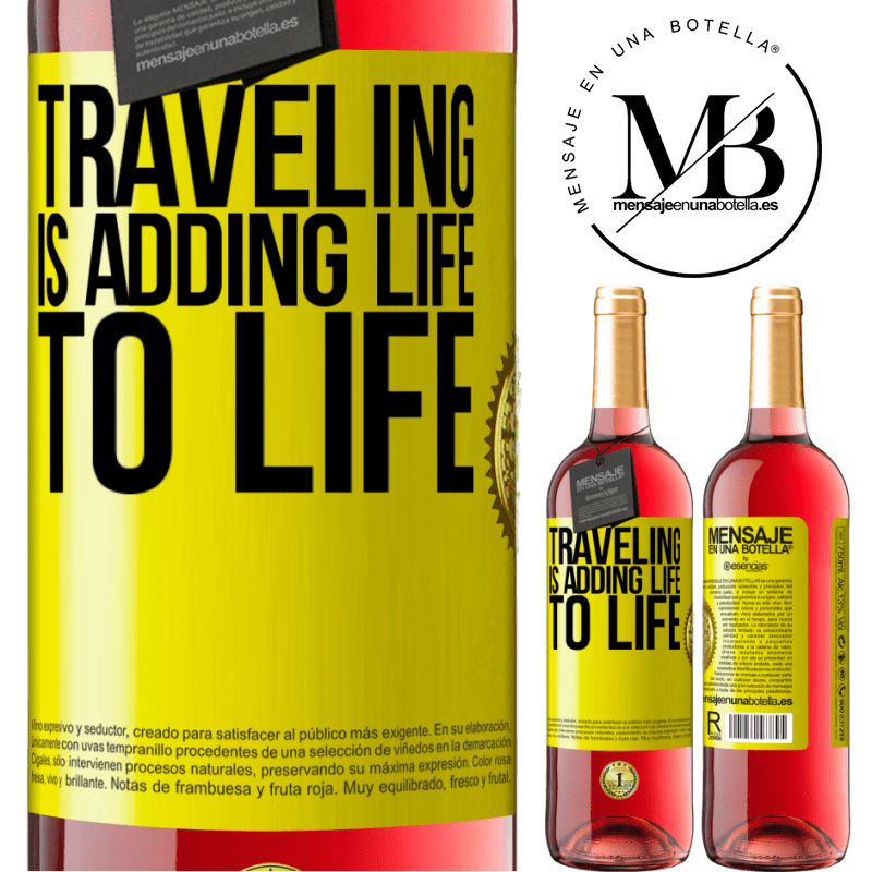 24,95 € Free Shipping | Rosé Wine ROSÉ Edition Traveling is adding life to life Yellow Label. Customizable label Young wine Harvest 2020 Tempranillo