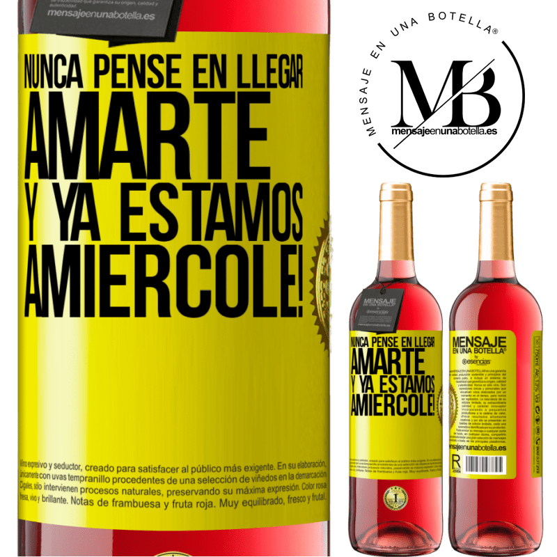 24,95 € Free Shipping | Rosé Wine ROSÉ Edition I never thought of getting to love you. And we are already Amiércole! Yellow Label. Customizable label Young wine Harvest 2020 Tempranillo