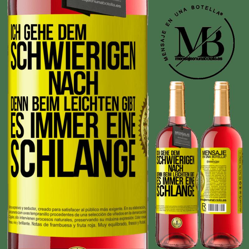 24,95 € Kostenloser Versand | Roséwein ROSÉ Ausgabe Ich gehe dem Schwierigen nach, denn im Leichten gibt es immer eine Linie Gelbes Etikett. Anpassbares Etikett Junger Wein Ernte 2020 Tempranillo