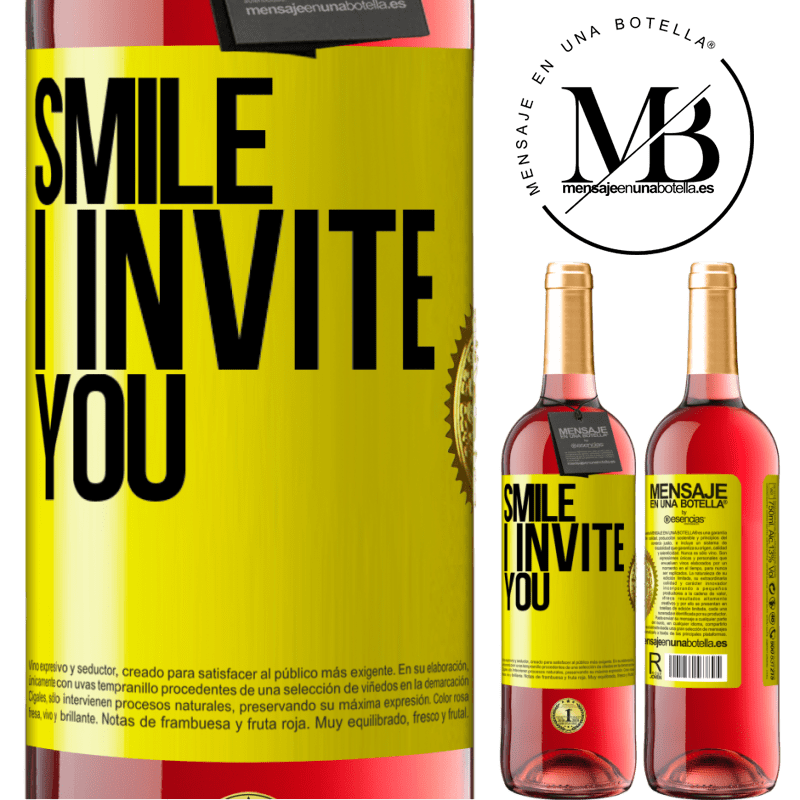 24,95 € Free Shipping | Rosé Wine ROSÉ Edition Smile I invite you Yellow Label. Customizable label Young wine Harvest 2020 Tempranillo
