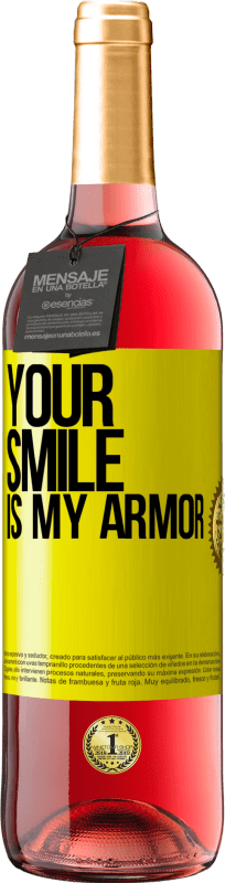 24,95 € Free Shipping | Rosé Wine ROSÉ Edition Your smile is my armor Yellow Label. Customizable label Young wine Harvest 2020 Tempranillo
