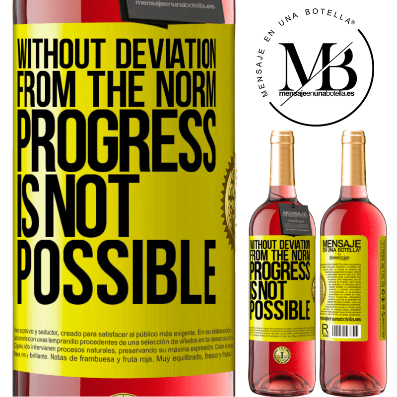 24,95 € Free Shipping   Rosé Wine ROSÉ Edition Without deviation from the norm, progress is not possible Yellow Label. Customizable label Young wine Harvest 2020 Tempranillo