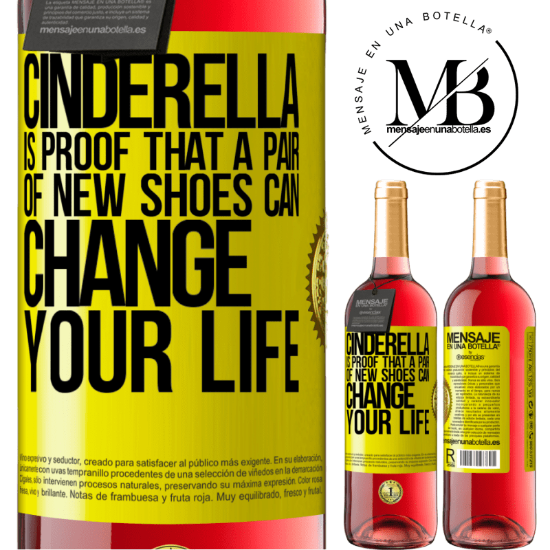 24,95 € Free Shipping | Rosé Wine ROSÉ Edition Cinderella is proof that a pair of new shoes can change your life Yellow Label. Customizable label Young wine Harvest 2020 Tempranillo