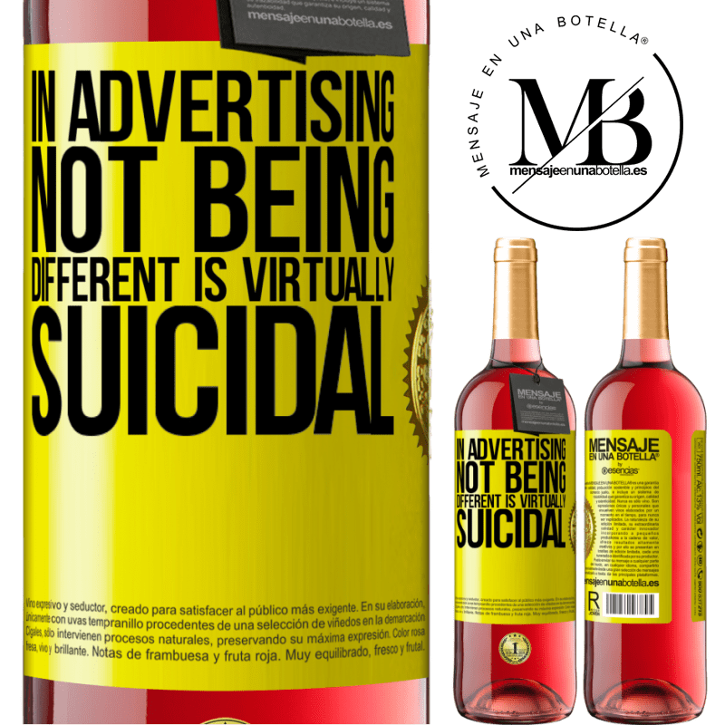 24,95 € Free Shipping | Rosé Wine ROSÉ Edition In advertising, not being different is virtually suicidal Yellow Label. Customizable label Young wine Harvest 2020 Tempranillo