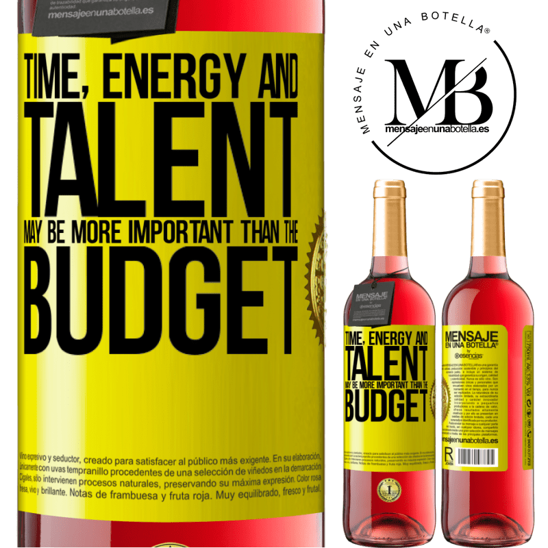 24,95 € Free Shipping | Rosé Wine ROSÉ Edition Time, energy and talent may be more important than the budget Yellow Label. Customizable label Young wine Harvest 2020 Tempranillo