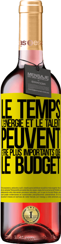 24,95 € Envoi gratuit | Vin rosé Édition ROSÉ Le temps, l'énergie et le talent peuvent être plus importants que le budget Étiquette Jaune. Étiquette personnalisable Vin jeune Récolte 2020 Tempranillo