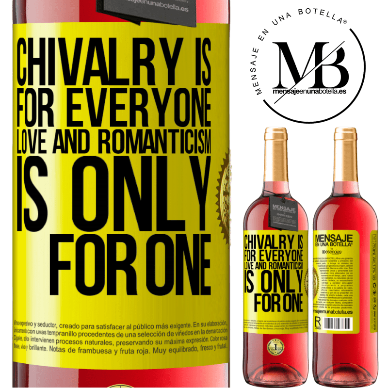 24,95 € Free Shipping | Rosé Wine ROSÉ Edition Chivalry is for everyone. Love and romanticism is only for one Yellow Label. Customizable label Young wine Harvest 2020 Tempranillo