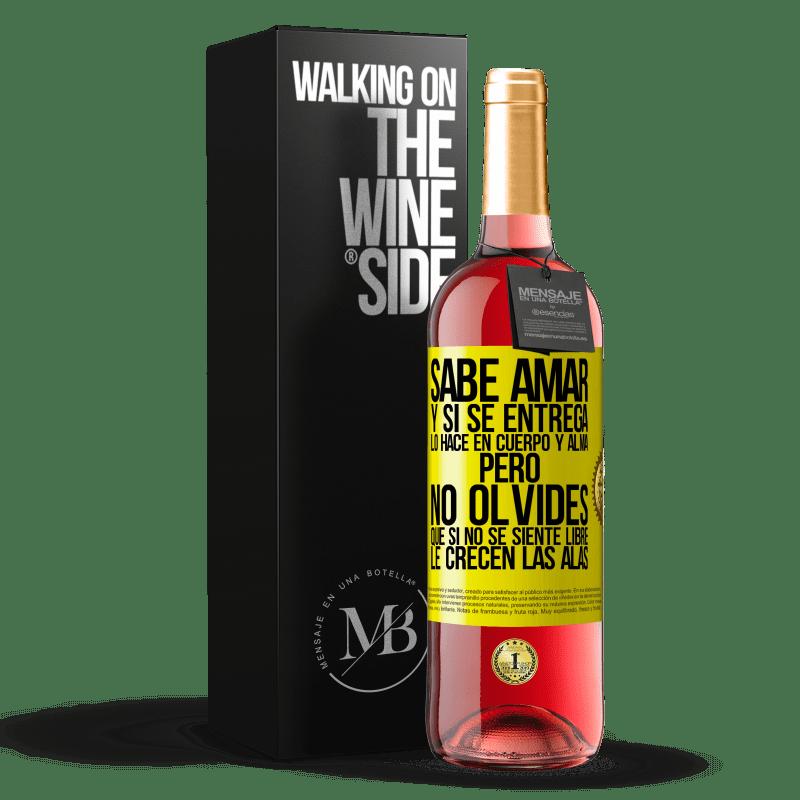 24,95 € Envoi gratuit | Vin rosé Édition ROSÉ Il sait aimer, et s'il se donne, il le fait corps et âme. Mais n'oubliez pas, si vous ne vous sentez pas libre, vos ailes Étiquette Jaune. Étiquette personnalisable Vin jeune Récolte 2020 Tempranillo