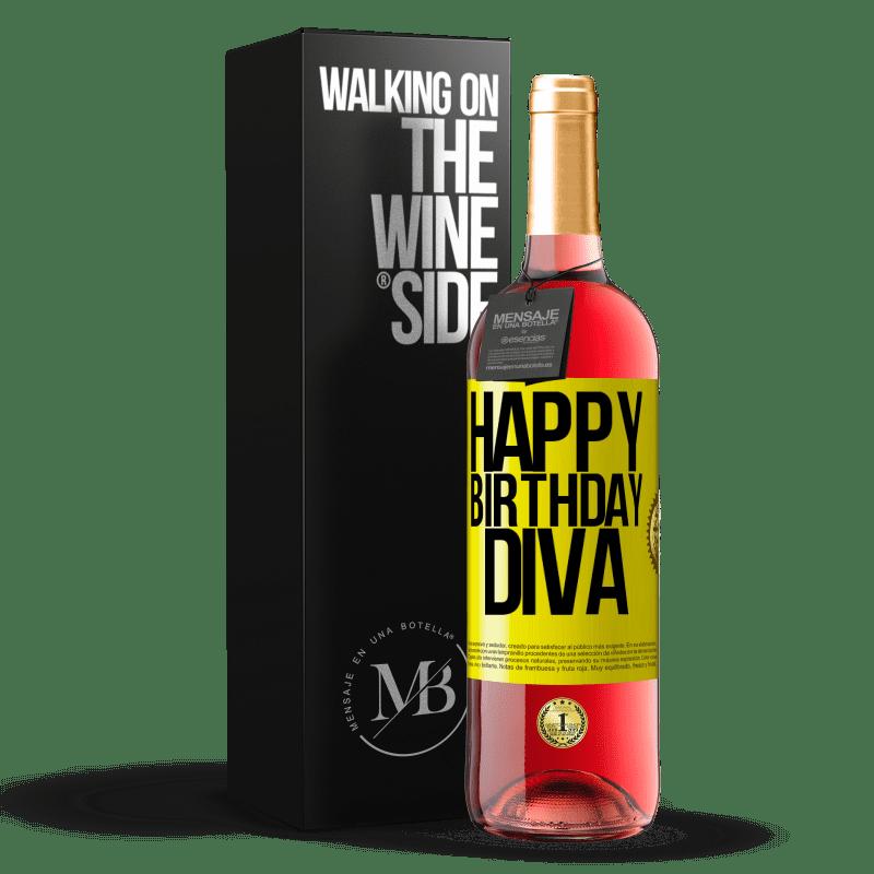 24,95 € Envoi gratuit | Vin rosé Édition ROSÉ Joyeux anniversaire Diva Étiquette Jaune. Étiquette personnalisable Vin jeune Récolte 2020 Tempranillo