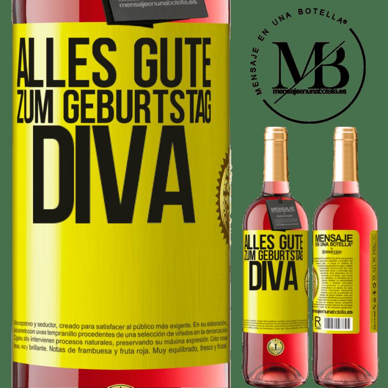 24,95 € Kostenloser Versand | Roséwein ROSÉ Ausgabe Alles Gute zum Geburtstag Diva Gelbes Etikett. Anpassbares Etikett Junger Wein Ernte 2020 Tempranillo